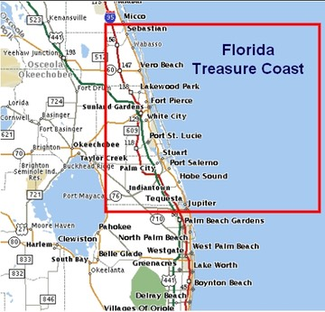FloridaTreasureCoastMap The Treasure Coast Genealogical - Florida coast map